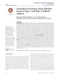 Microalbumin Levels Chart Pdf Assessment Of Urinary Micro Albumin Levels In Type 1