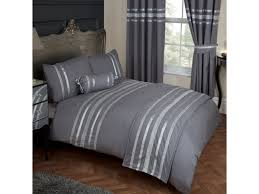 glitz grey silver trim ribbon king size bed duvet quilt cover bedding