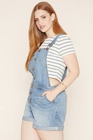 plus size overalls shorts lyst forever 21 plus size denim overall shorts in blue