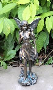 bronze style girl fairy garden ornament
