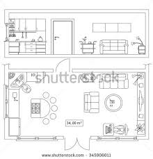 couch drawing top view. architectural set of furniture. objects for building plan, section design. frontal and top couch drawing view