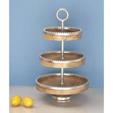 3 tier round mango wood tray