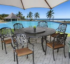 elisabeth outdoor patio 7pc set with series 5000 71 round table includes 35 lazy susan seat cushions antique bronze finish