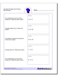 12 pre algebra word problems worksheets