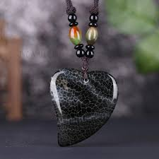 lkntrsn052 vintage crystal nature stone heart shape romantic pendant necklace for man and woman black tvc mall com