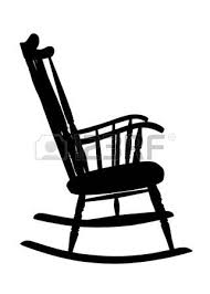 rocking chair drawing. Vintage Rocking Chair Stencil - Right Side Vector Drawing