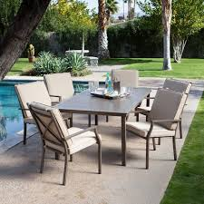 c coast bellagio cushioned aluminum patio dining set seats 6 there s not a bad seat in the house er out of the house when you re sitting around