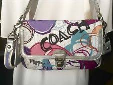 Coach 18362 Poppy Silver Leather Metallic Montage Layla Crossbody Bag Purse  🦋🥀