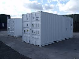white 20ft shipping containers - hire fleet .