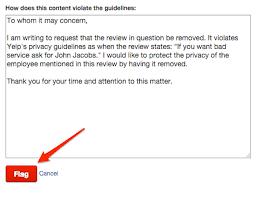 yelp review template. Modren Template Flagging A Yelp Review On Review Template