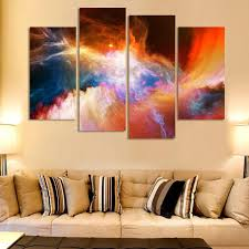 Living Room Oil Paintings 4 Piece Large Canvas Art Cheap Modern Abstract Purple Pictures Oil