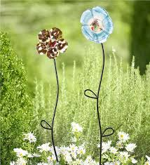 main image for hand n polish glass flower garden stake
