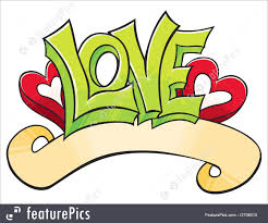 fine art love word with hearts drawn in graffiti style