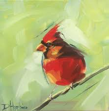 cardinal painting by artist denise hopkins