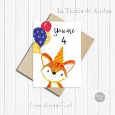 printable children s birthday cards personalised happy birthday card 4th birthday fox card
