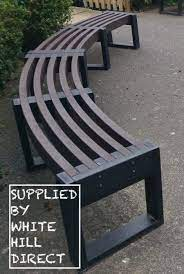 recycled plastic curved bench 1800mm