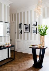 an elegant way of doing striped walls the light colors keep the stripes from being