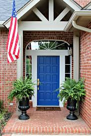 blue front doorFRONT PORCH MINI MAKEOVER NEW BLUE FRONT DOOR  Dimples and Tangles