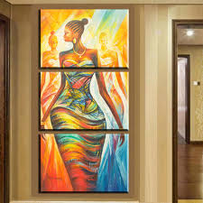 xh2237 3pcs canvas wall art prints modern abstract african women canvas painting wall art for living room decoration unframed in painting calligraphy from