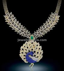 diamond necklaces indian designs by bhima depicting the of a peacock
