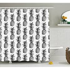 artistic shower curtains. Ambesonne Pineapple Decor Shower Curtain Set, Artistic Hand-Drawn Style Tropical Theme Vintage Fruit Pattern, Bathroom Accessories, Curtains C