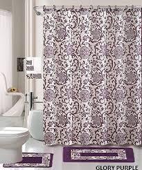 purple and silver shower curtain. 18 Piece Bath Rug Set Lavender Purple Silver Grey Print Bathroom Rugs Shower Curtain/rings And Curtain