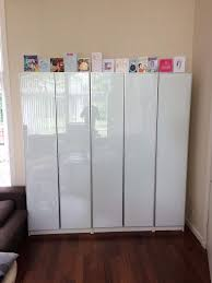 ikea billy storage with frosted glass doors