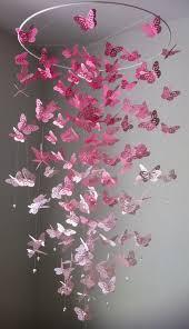 pink paper erfly chandelier