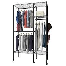 free standing clothes rack. Lantusi Free Standing Closet Garment Rack Wire Shelving Clothes Storage Organizer Wardrobe, 3-