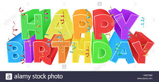 A Happy Birthday Bright Color Word Text Sign With Confetti