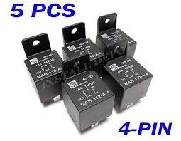 5 pair 12v automotive relays wire harness 4 pin single pole 5 pk premium 12v bosch style spst 40 amp automotive relays 4 pin single pole