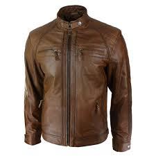 men s retro style zipped biker jacket real leather soft tan waxed sheepskin casual leather jacket