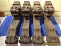 4 vintage antique carved wood claw feet face table legs shelf brackets for