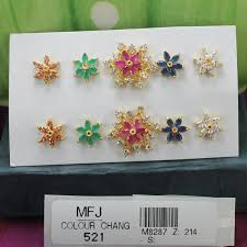 cz stones flowers design gold plated earrings with cz ruby emerald blue sapphire honey colour changeable