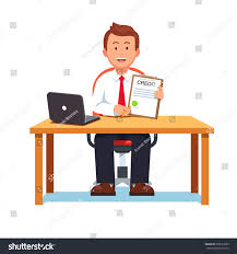 smiling banking clerk showing bank credit loan contract or mortgage agreement sitting at desk with