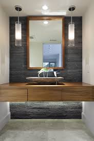 modern bathroom pendant lighting. Bathroom Stylish Pendant Light Clear Glass Shade Chrome Finish Fixture Rectangle Woden Framed Mirror Modern Lighting H