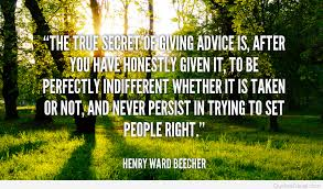 secret of giving advice quote