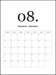 August Calandar Modern Minimal August 2019 Calendar Monthly Calendar