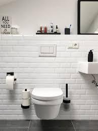 Badezimmer Schwarz Weiß Metrofliesen Schwarze Accessoires