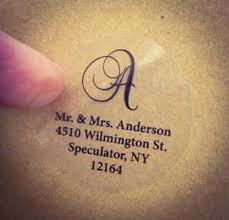 Tranparent Labels Clear Script Monogram Address Labels For Wedding Invitation Thank