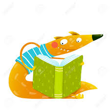 fun colorful fox reading kids book cute red fox sitting and reading book wildlife