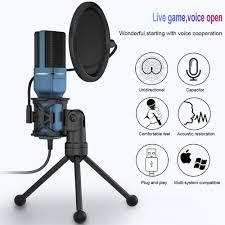 XIAOKOA SF 777 USB Để Bàn Máy Tính Chơi Game Micro Điện Dung Gấp Gọn Giá Đỡ  3 Chân Đế Màng Lọc Âm Cho Máy Tính Video Mic Thu Âm|Microphones