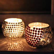 Silver cool handmade mosaic glass romantic candle holder cafe  decoration-inCandle Holders from Home &