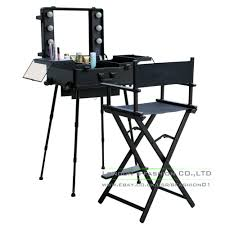 hollywood style trolley makeup case station w legs 6led bulb light vanity mirror