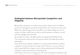 distinguish between monopolistic competition and oligopoly document image preview