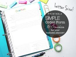 Simple Order Form Simple Etsy And Small Business Order Form PDF Printable Planner Etsy