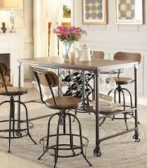kitchen table with stools 5429 36 modern industrial metal counter height dining table wine