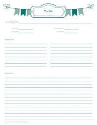 free printable recipe page template