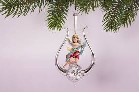 Lyra Mit Engel Rot Antike Weihnachtskugeln Neu Belebt Mit Draht Umsponnen Ca H 13cm X B 7cm