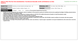 mechanical technician resume  x resume for mechanical    fire protection engineering technician resume fire protection engineering technician resume   engineering technician resume